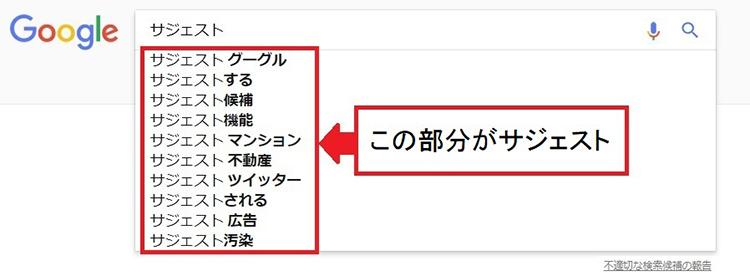 Googleのサジェスト